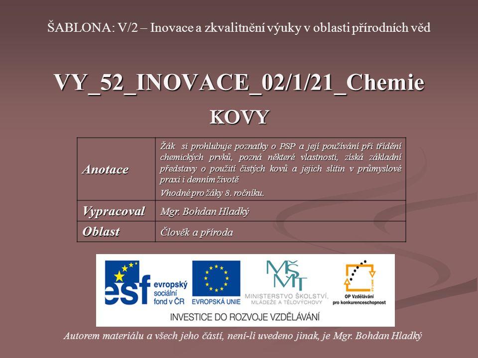 VY_52_INOVACE_02/1/21_Chemie KOVY Autorem materiálu a všech jeho částí, není-li uvedeno jinak, je Mgr. Bohdan Hladký ŠABLONA: V/2 – Inovace a zkvalitn