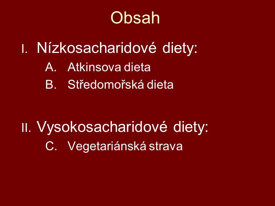 Obsah I. Nízkosacharidové diety: A.Atkinsova dieta B.Středomořská dieta II. Vysokosacharidové diety: C. Vegetariánská strava