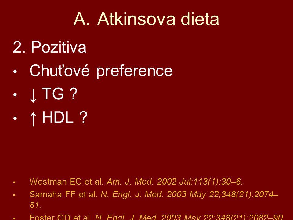 2. Pozitiva Chuťové preference ↓ TG ? ↑ HDL ? Westman EC et al. Am. J. Med. 2002 Jul;113(1):30–6. Samaha FF et al. N. Engl. J. Med. 2003 May 22;348(21
