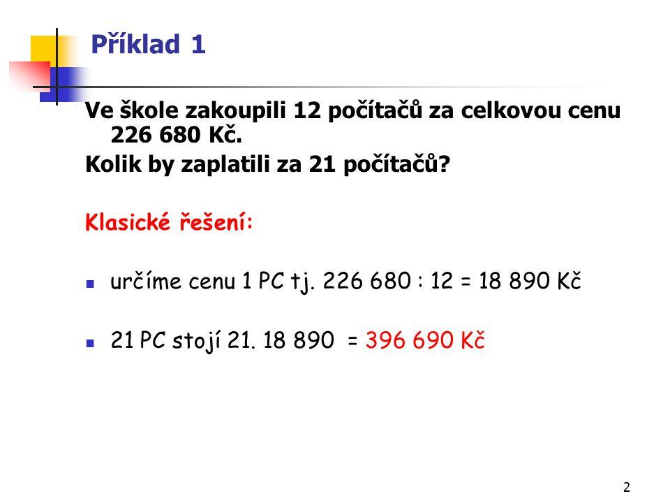 2 Příklad 1 Ve škole zakoupili 12 počítačů za celkovou cenu 226 680 Kč. Kolik by zaplatili za 21 počítačů? Klasické řešení: určíme cenu 1 PC tj. 226 6