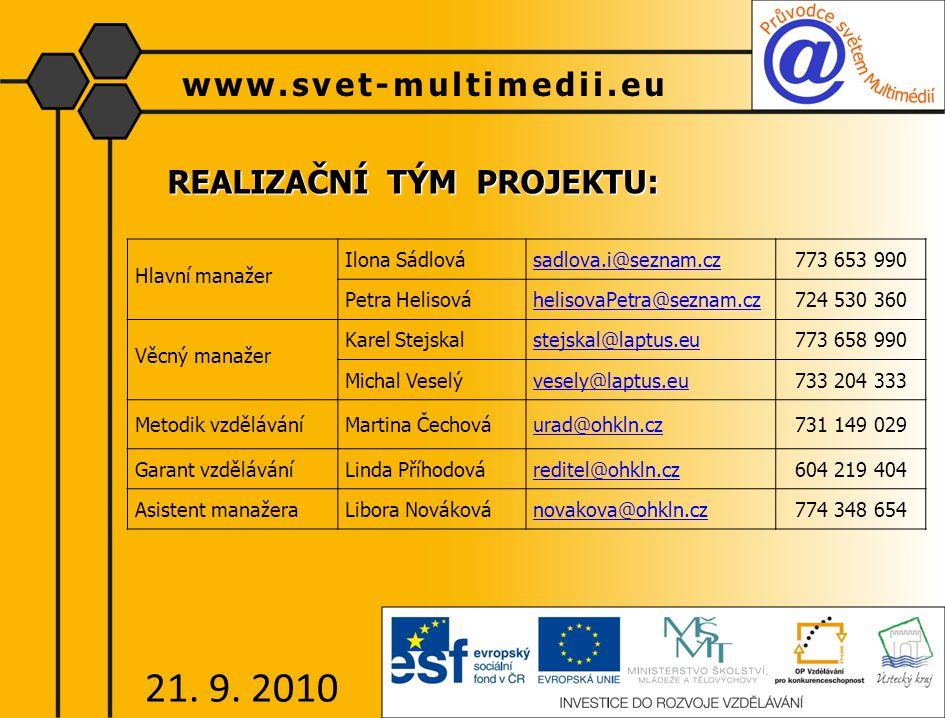 REALIZAČNÍ TÝM PROJEKTU: www.svet-multimedii.eu 21.