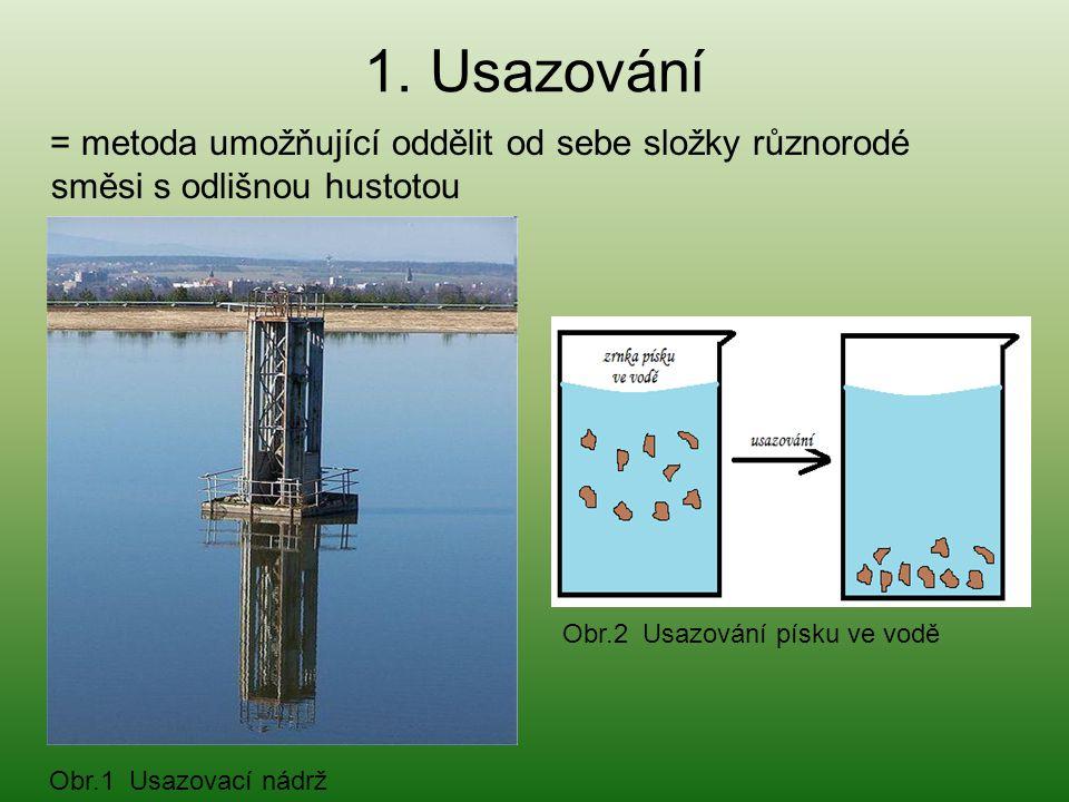 1. Usazování = metoda umožňující oddělit od sebe složky různorodé směsi s odlišnou hustotou Obr.1 Usazovací nádrž Obr.2 Usazování písku ve vodě