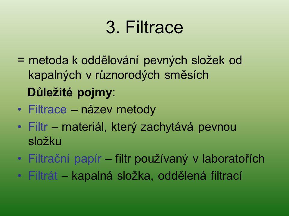 3. Filtrace = metoda k oddělování pevných složek od kapalných v různorodých směsích Důležité pojmy: Filtrace – název metody Filtr – materiál, který za