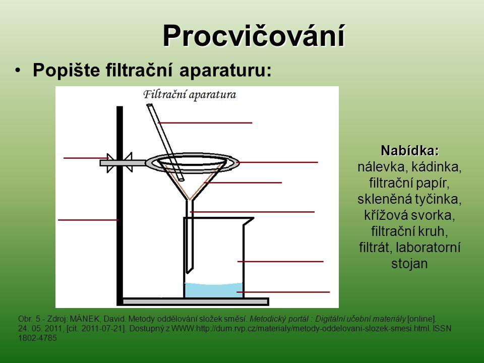 Procvičování Popište filtrační aparaturu: Nabídka: Nabídka: nálevka, kádinka, filtrační papír, skleněná tyčinka, křížová svorka, filtrační kruh, filtr