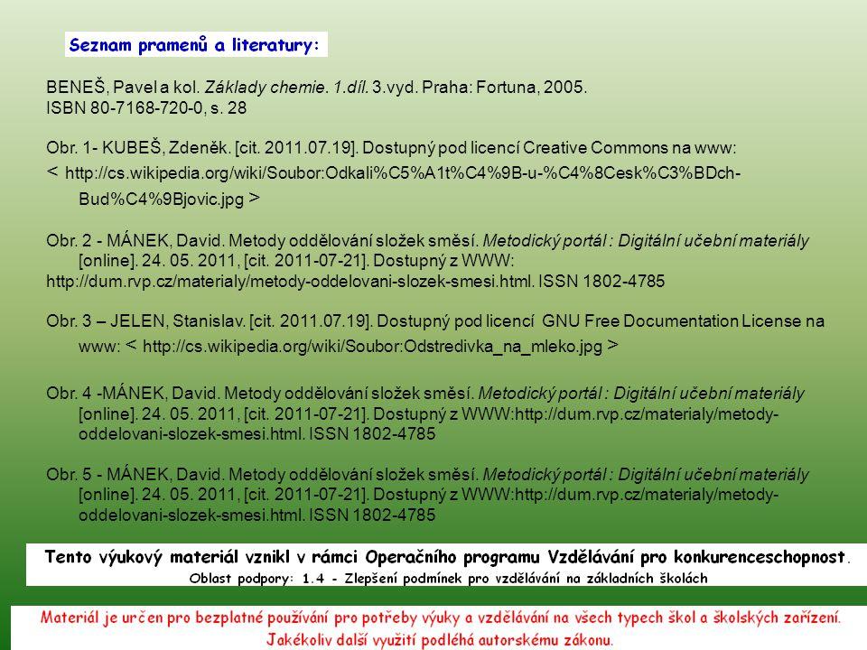 BENEŠ, Pavel a kol. Základy chemie. 1.díl. 3.vyd. Praha: Fortuna, 2005. ISBN 80-7168-720-0, s. 28 Obr. 1- KUBEŠ, Zdeněk. [cit. 2011.07.19]. Dostupný p
