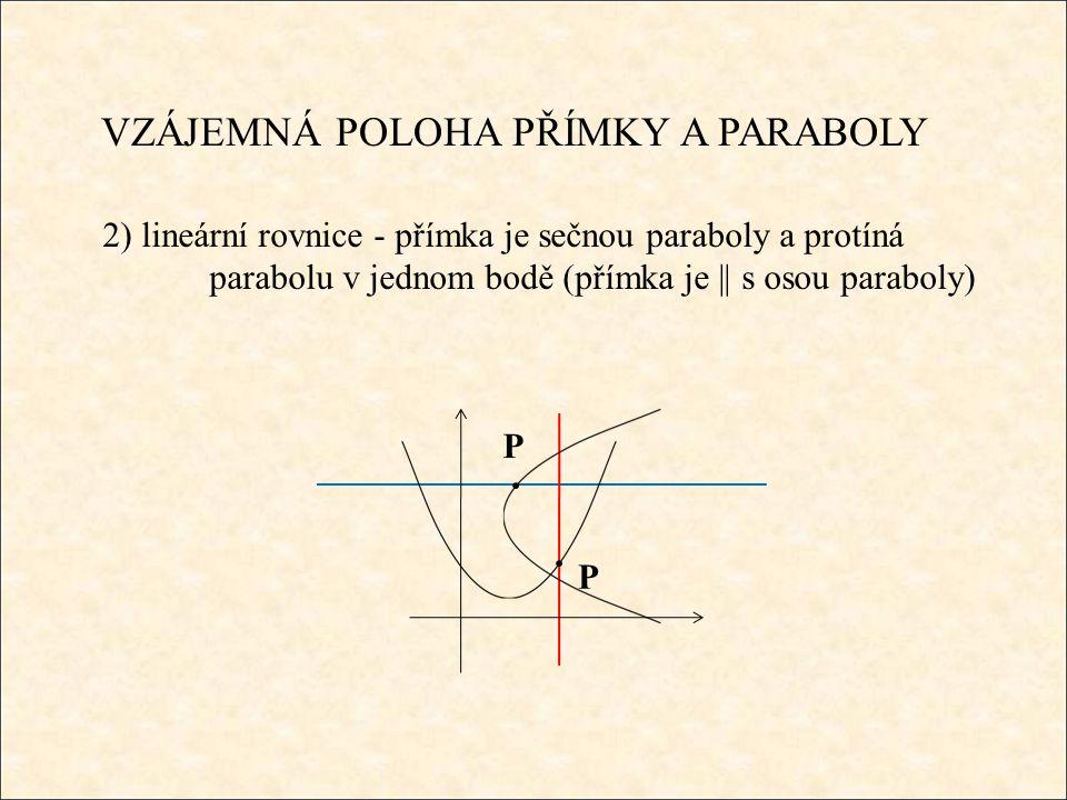 VZÁJEMNÁ POLOHA PŘÍMKY A PARABOLY 2) lineární rovnice - přímka je sečnou paraboly a protíná parabolu v jednom bodě (přímka je || s osou paraboly) P P
