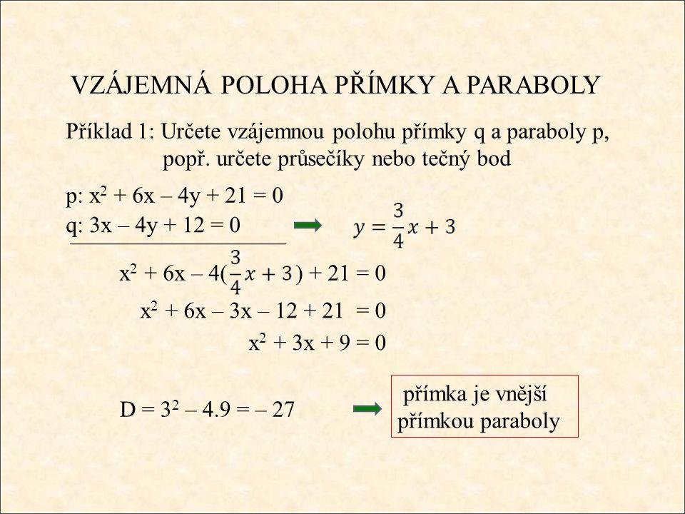 VZÁJEMNÁ POLOHA PŘÍMKY A PARABOLY Příklad 1: Určete vzájemnou polohu přímky q a paraboly p, popř.
