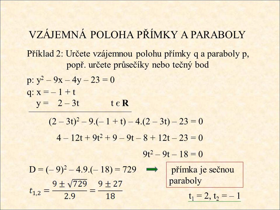 VZÁJEMNÁ POLOHA PŘÍMKY A PARABOLY Příklad 2: Určete vzájemnou polohu přímky q a paraboly p, popř.