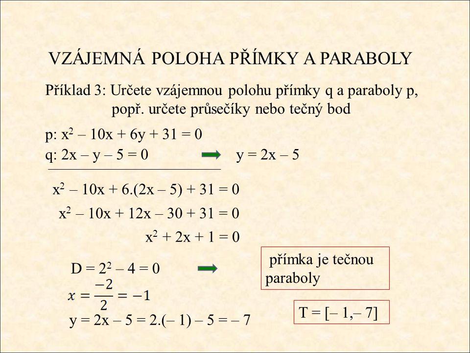 VZÁJEMNÁ POLOHA PŘÍMKY A PARABOLY Příklad 3: Určete vzájemnou polohu přímky q a paraboly p, popř.