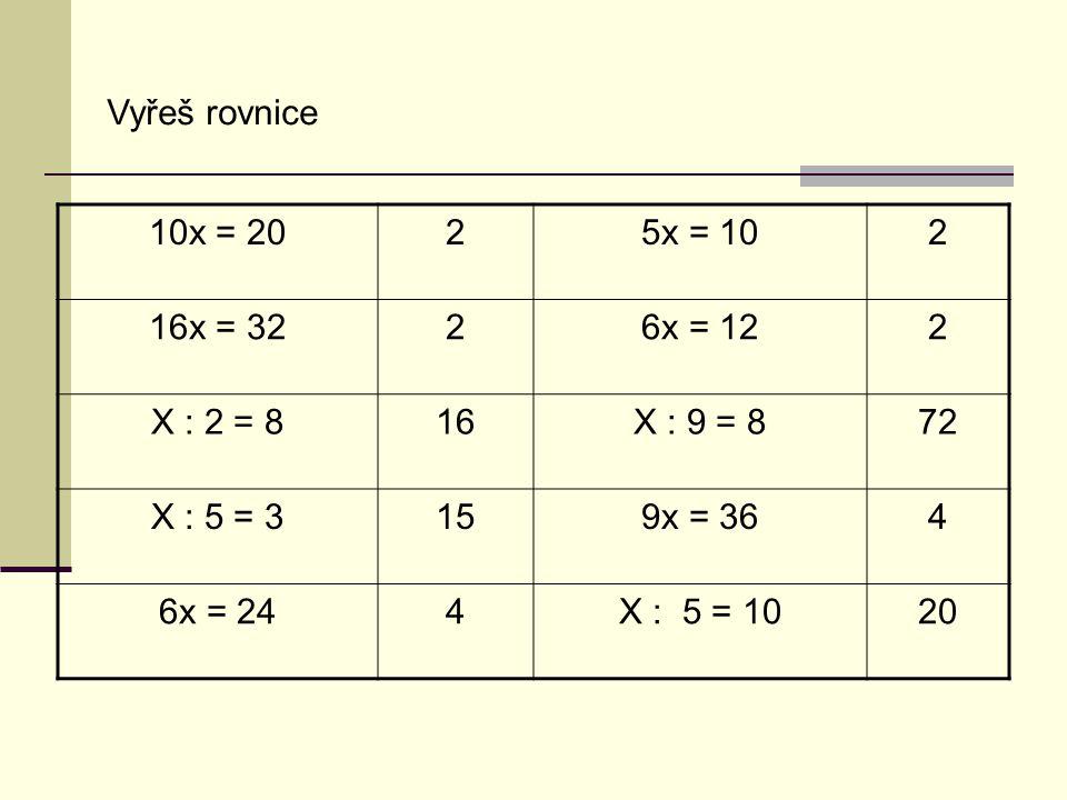 Vyřeš rovnice 10x = 2025x = 102 16x = 3226x = 122 X : 2 = 816X : 9 = 872 X : 5 = 3159x = 364 6x = 244X : 5 = 1020