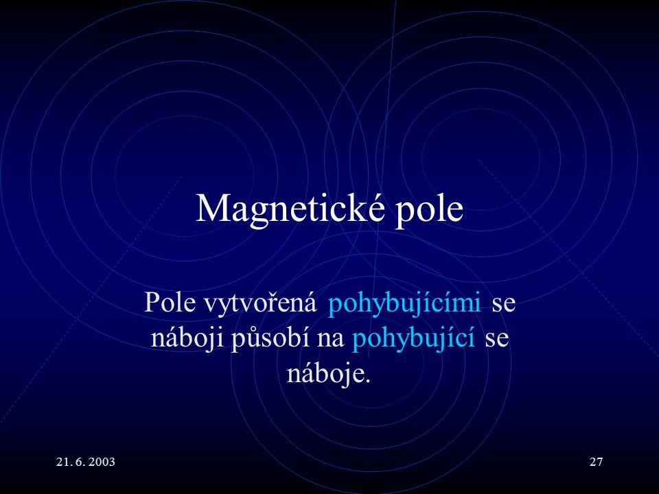 21. 6. 200327 Magnetické pole Pole vytvořená pohybujícími se náboji působí na pohybující se náboje.