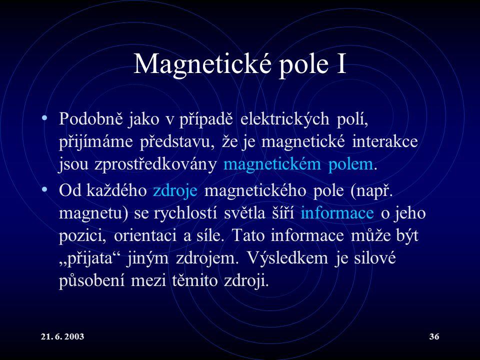 21. 6. 200336 Magnetické pole I Podobně jako v případě elektrických polí, přijímáme představu, že je magnetické interakce jsou zprostředkovány magneti