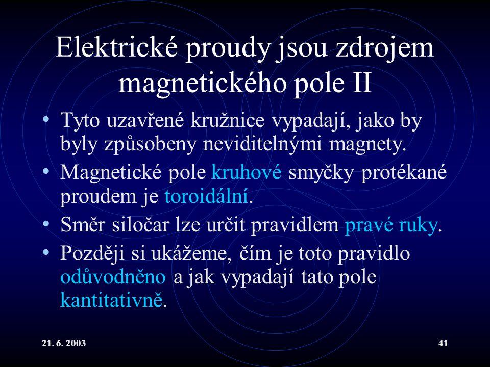 21. 6. 200341 Elektrické proudy jsou zdrojem magnetického pole II Tyto uzavřené kružnice vypadají, jako by byly způsobeny neviditelnými magnety. Magne