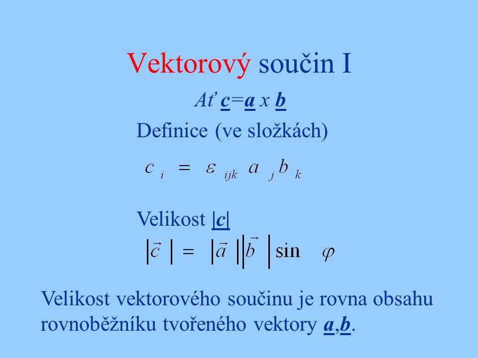 Vektorový součin I Ať c=a x b Definice (ve složkách) Velikost |c| Velikost vektorového součinu je rovna obsahu rovnoběžníku tvořeného vektory a,b.