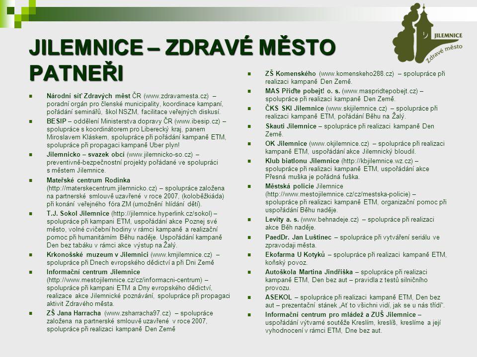 JILEMNICE – ZDRAVÉ MĚSTO PATNEŘI Národní síť Zdravých měst ČR (www.zdravamesta.cz) – poradní orgán pro členské municipality, koordinace kampaní, pořádání seminářů, škol NSZM, facilitace veřejných diskusí.