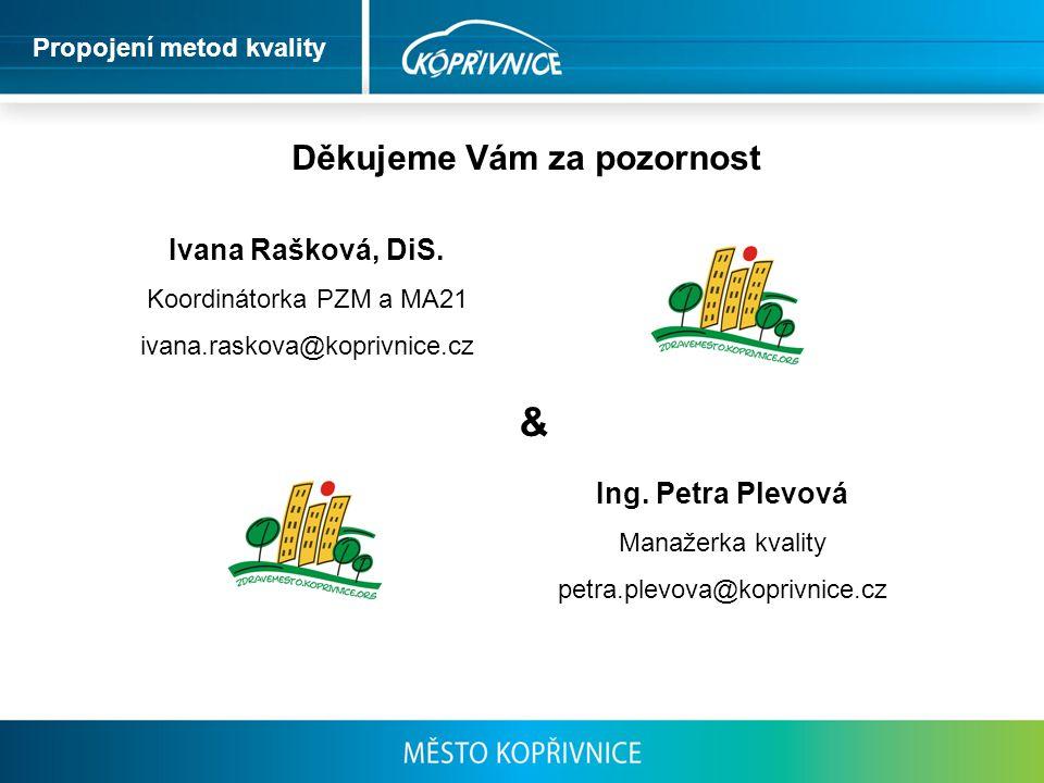Děkujeme Vám za pozornost Ivana Rašková, DiS. Koordinátorka PZM a MA21 ivana.raskova@koprivnice.cz Ing. Petra Plevová Manažerka kvality petra.plevova@