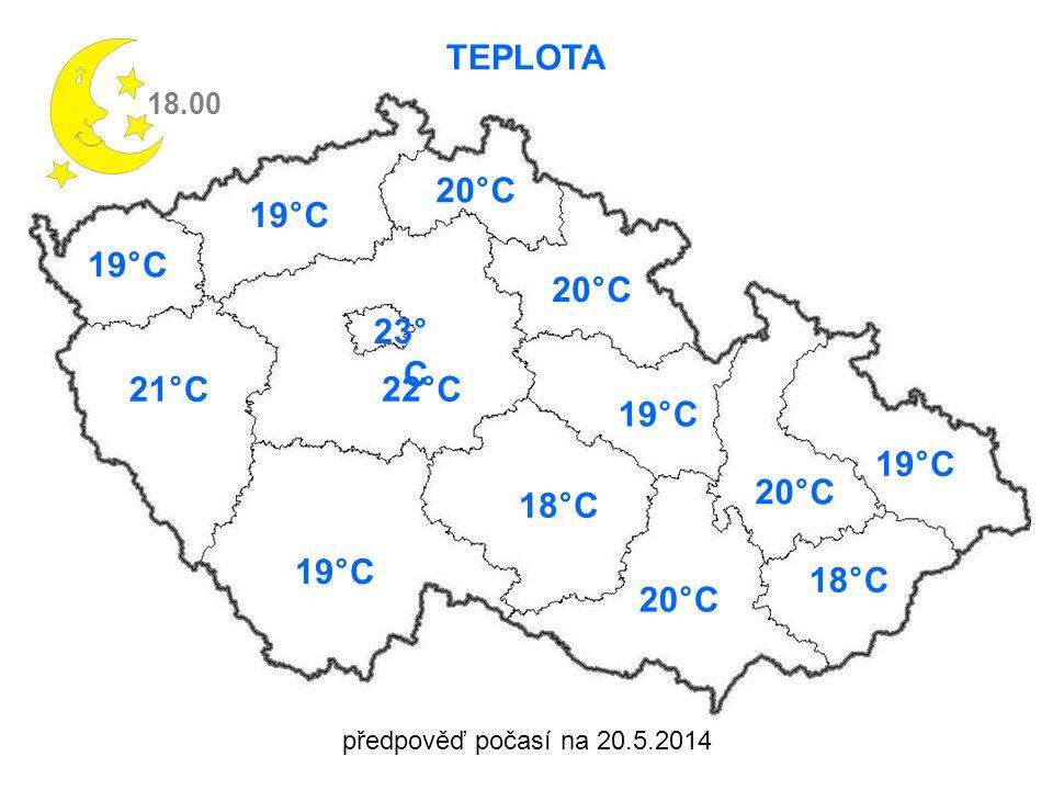 předpověď počasí na 20.5.2014 TEPLOTA 18.00 19°C 21°C 22°C 19°C 20°C 18°C 19°C 20°C 19°C 18°C 20°C 23° C