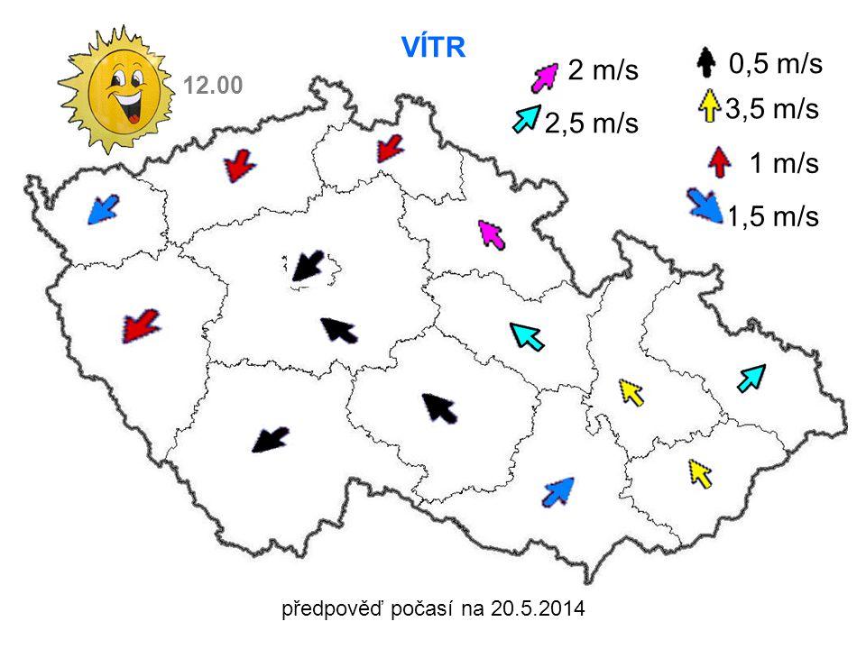 předpověď počasí na 20.5.2014 VÍTR 3,5 m/s 1 m/s 1,5 m/s 12.00 0,5 m/s 2 m/s 2,5 m/s