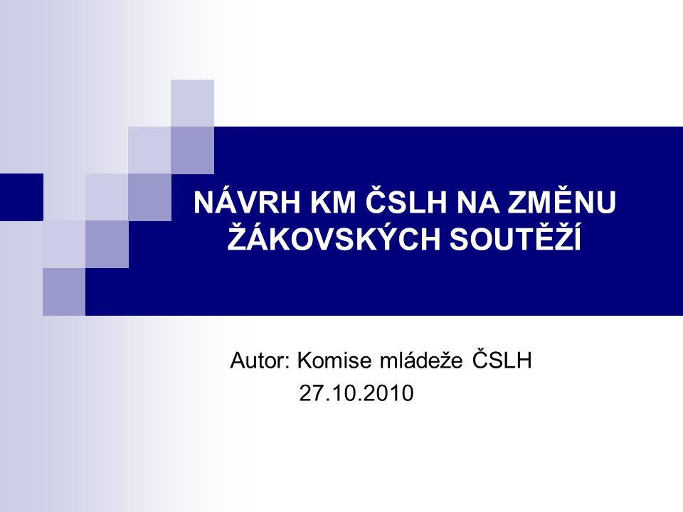 NÁVRH KM ČSLH NA ZMĚNU ŽÁKOVSKÝCH SOUTĚŽÍ Autor: Komise mládeže ČSLH 27.10.2010