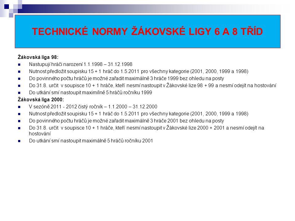TECHNICKÉ NORMY ŽÁKOVSKÉ LIGY 6 A 8 TŘÍD Žákovská liga 98: Nastupují hráči narození 1.1.1998 – 31.12.1998 Nutnost předložit soupisku 15 + 1 hráč do 1.5.2011 pro všechny kategorie (2001, 2000, 1999 a 1998) Do povinného počtu hráčů je možné zařadit maximálně 3 hráče 1999 bez ohledu na posty Do 31.8.