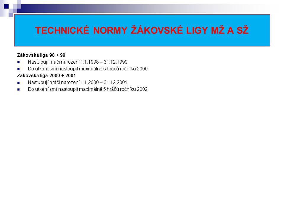 TECHNICKÉ NORMY ŽÁKOVSKÉ LIGY MŽ A SŽ Žákovská liga 98 + 99 Nastupují hráči narození 1.1.1998 – 31.12.1999 Do utkání smí nastoupit maximálně 5 hráčů ročníku 2000 Žákovská liga 2000 + 2001 Nastupují hráči narození 1.1.2000 – 31.12.2001 Do utkání smí nastoupit maximálně 5 hráčů ročníku 2002