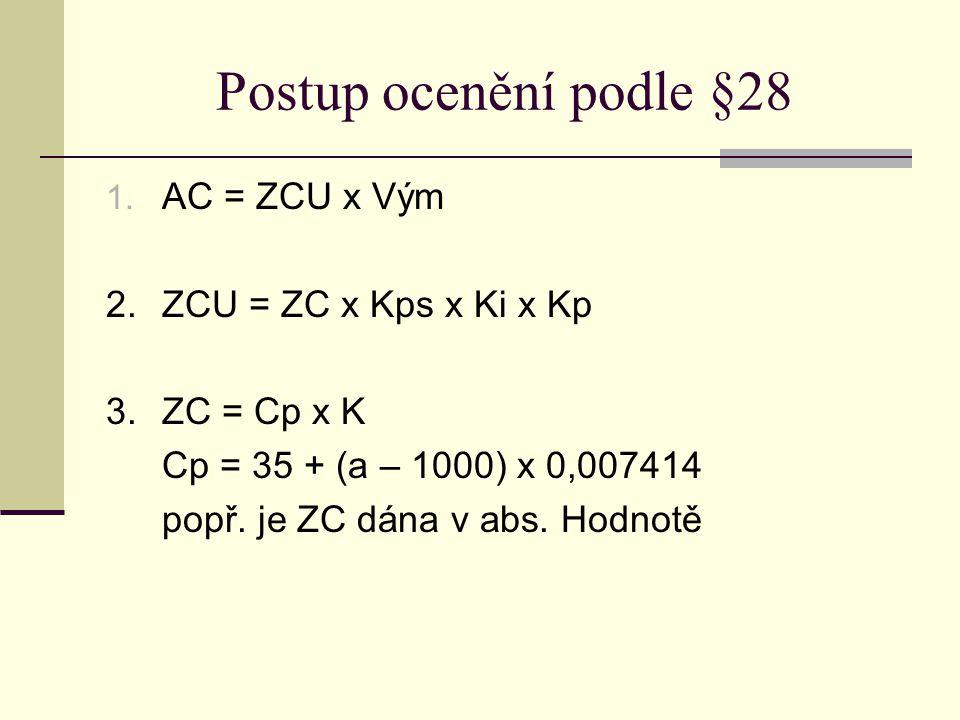 Postup ocenění podle §28 1. AC = ZCU x Vým 2.ZCU = ZC x Kps x Ki x Kp 3.ZC = Cp x K Cp = 35 + (a – 1000) x 0,007414 popř. je ZC dána v abs. Hodnotě