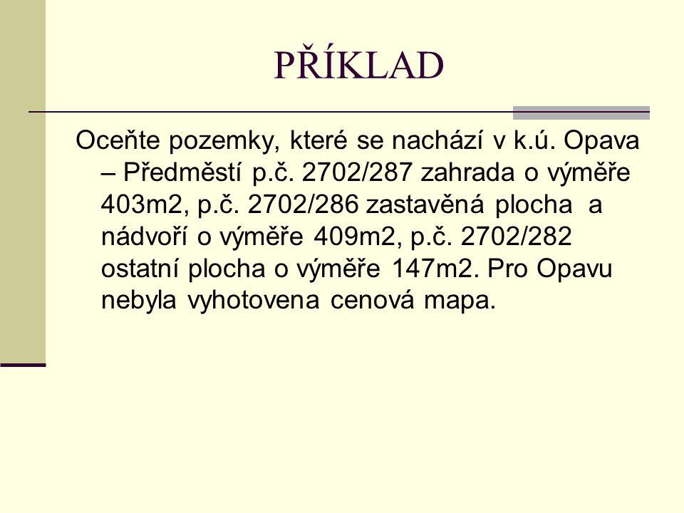 PŘÍKLAD Oceňte pozemky, které se nachází v k.ú. Opava – Předměstí p.č.
