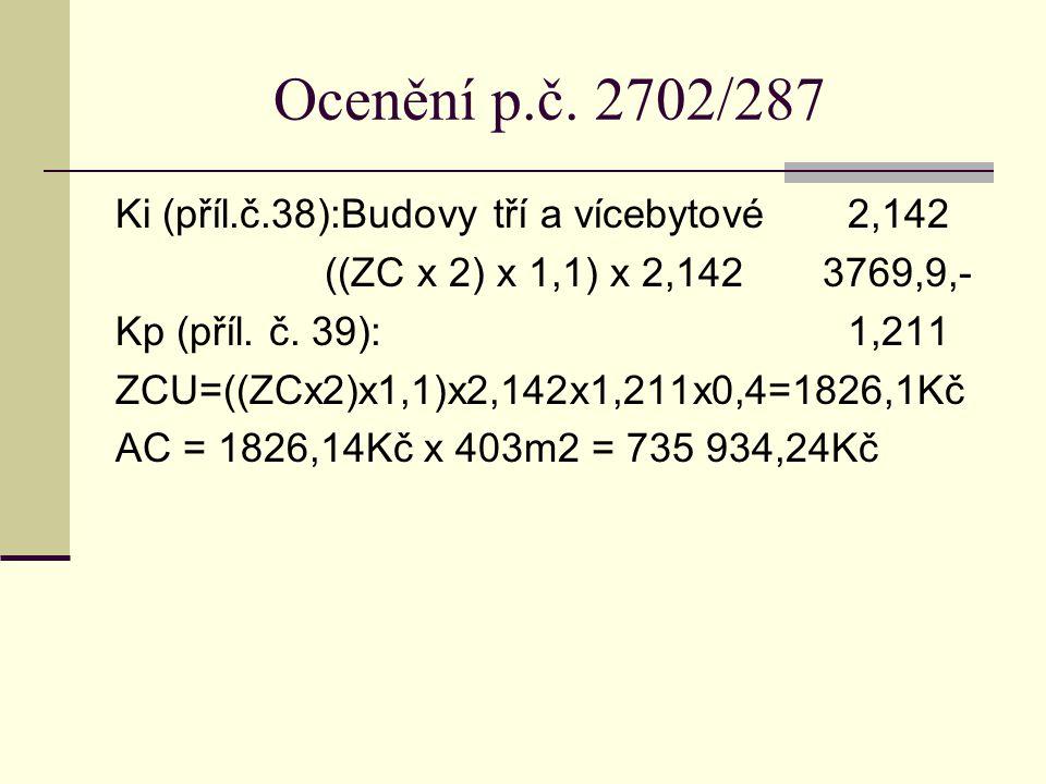 Ocenění p.č. 2702/287 Ki (příl.č.38):Budovy tří a vícebytové2,142 ((ZC x 2) x 1,1) x 2,142 3769,9,- Kp (příl. č. 39):1,211 ZCU=((ZCx2)x1,1)x2,142x1,21