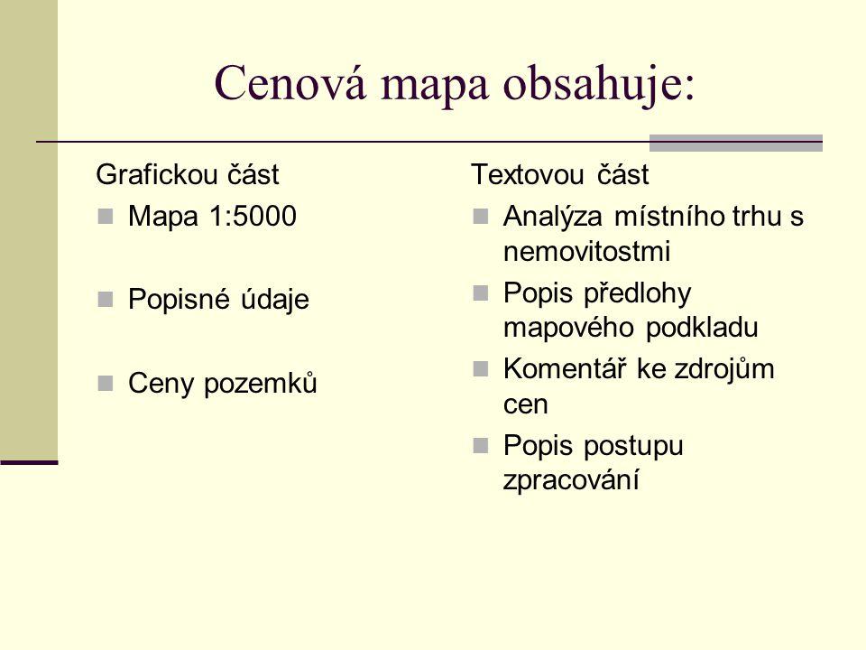 Cenová mapa obsahuje: Grafickou část Mapa 1:5000 Popisné údaje Ceny pozemků Textovou část Analýza místního trhu s nemovitostmi Popis předlohy mapového podkladu Komentář ke zdrojům cen Popis postupu zpracování