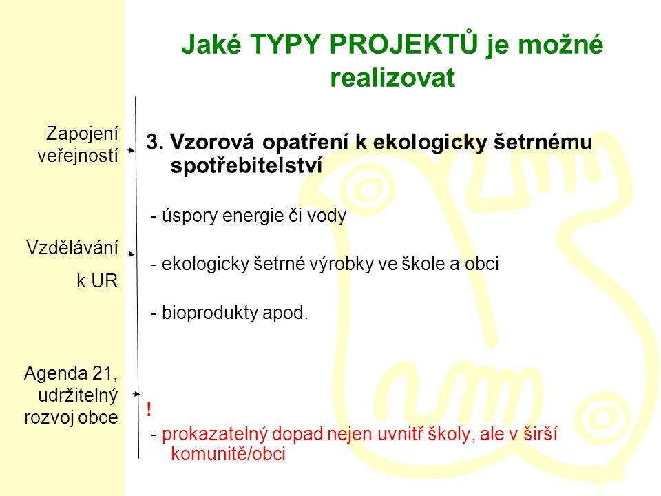 Jaké TYPY PROJEKTŮ je možné realizovat 3.