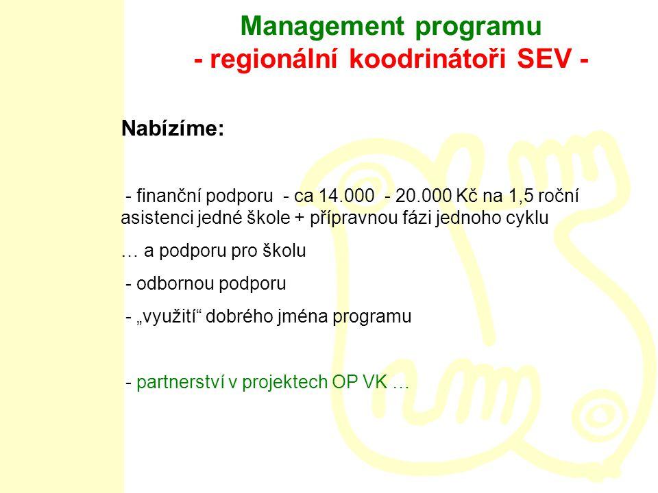 """Management programu - regionální koodrinátoři SEV - Nabízíme: - finanční podporu - ca 14.000 - 20.000 Kč na 1,5 roční asistenci jedné škole + přípravnou fázi jednoho cyklu … a podporu pro školu - odbornou podporu - """"využití dobrého jména programu - partnerství v projektech OP VK …"""