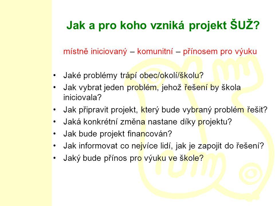 Jak a pro koho vzniká projekt ŠUŽ.