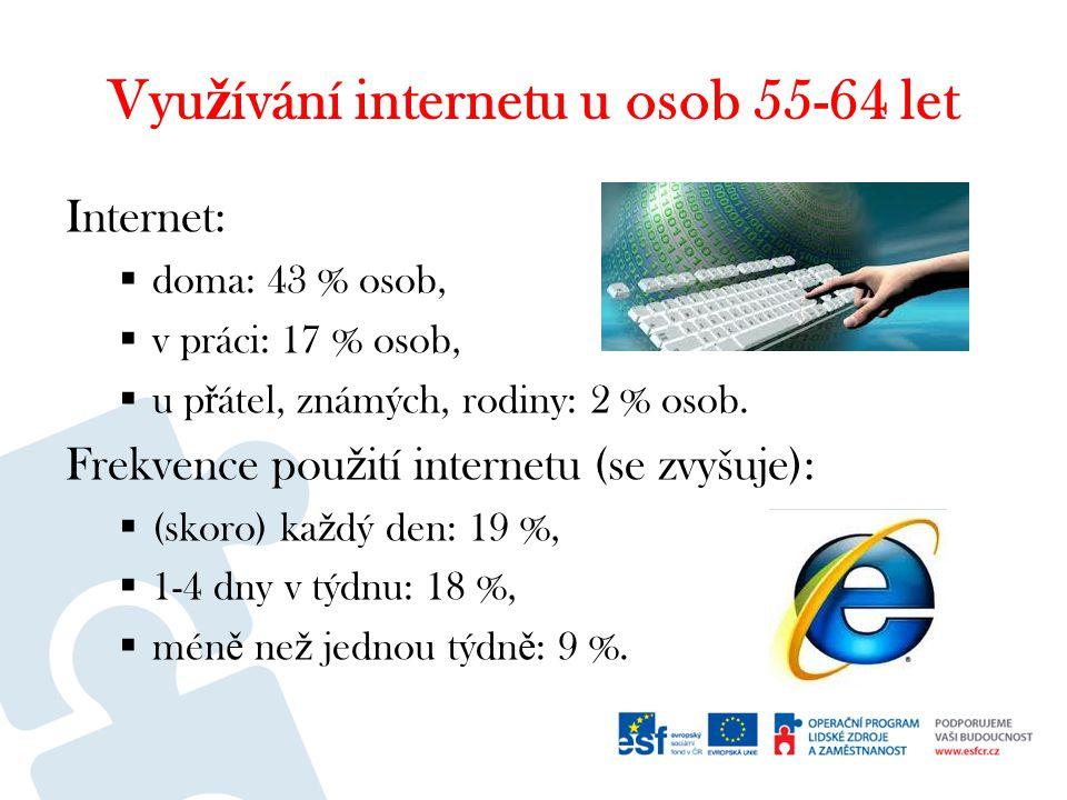 Vyu ž ívání internetu u osob 55-64 let Internet:  doma: 43 % osob,  v práci: 17 % osob,  u p ř átel, známých, rodiny: 2 % osob.