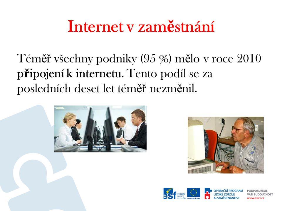 Internet v zam ě stnání Tém ěř všechny podniky (95 %) m ě lo v roce 2010 p ř ipojení k internetu.