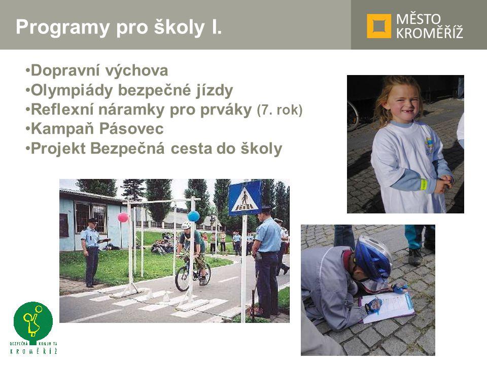 Programy pro školy I. Dopravní výchova Olympiády bezpečné jízdy Reflexní náramky pro prváky (7.