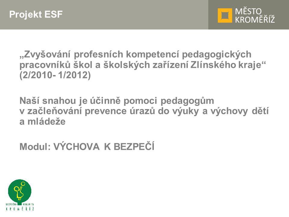 """Projekt ESF """"Zvyšování profesních kompetencí pedagogických pracovníků škol a školských zařízení Zlínského kraje (2/2010- 1/2012) Naší snahou je účinně pomoci pedagogům v začleňování prevence úrazů do výuky a výchovy dětí a mládeže Modul: VÝCHOVA K BEZPEČÍ"""