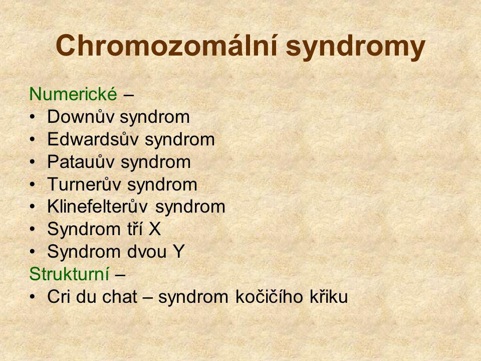 Chromozomální syndromy Numerické – Downův syndrom Edwardsův syndrom Patauův syndrom Turnerův syndrom Klinefelterův syndrom Syndrom tří X Syndrom dvou Y Strukturní – Cri du chat – syndrom kočičího křiku