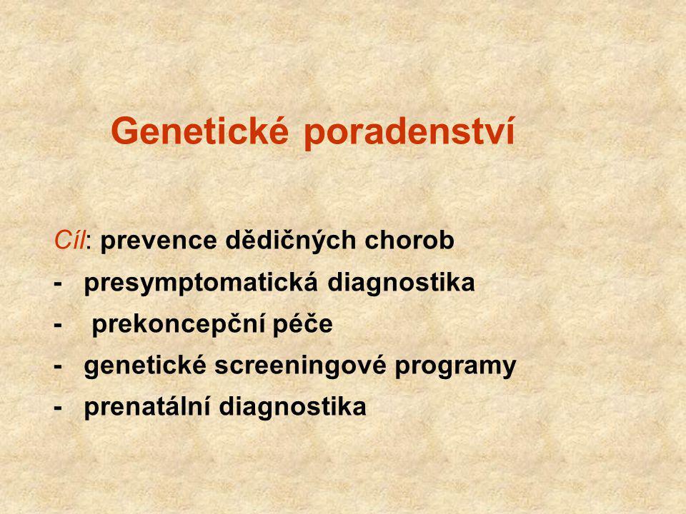 Genetické poradenství Cíl: prevence dědičných chorob - presymptomatická diagnostika - prekoncepční péče - genetické screeningové programy - prenatální