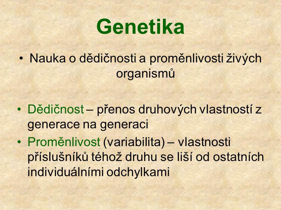 Genetika Nauka o dědičnosti a proměnlivosti živých organismů Dědičnost – přenos druhových vlastností z generace na generaci Proměnlivost (variabilita) – vlastnosti příslušníků téhož druhu se liší od ostatních individuálními odchylkami