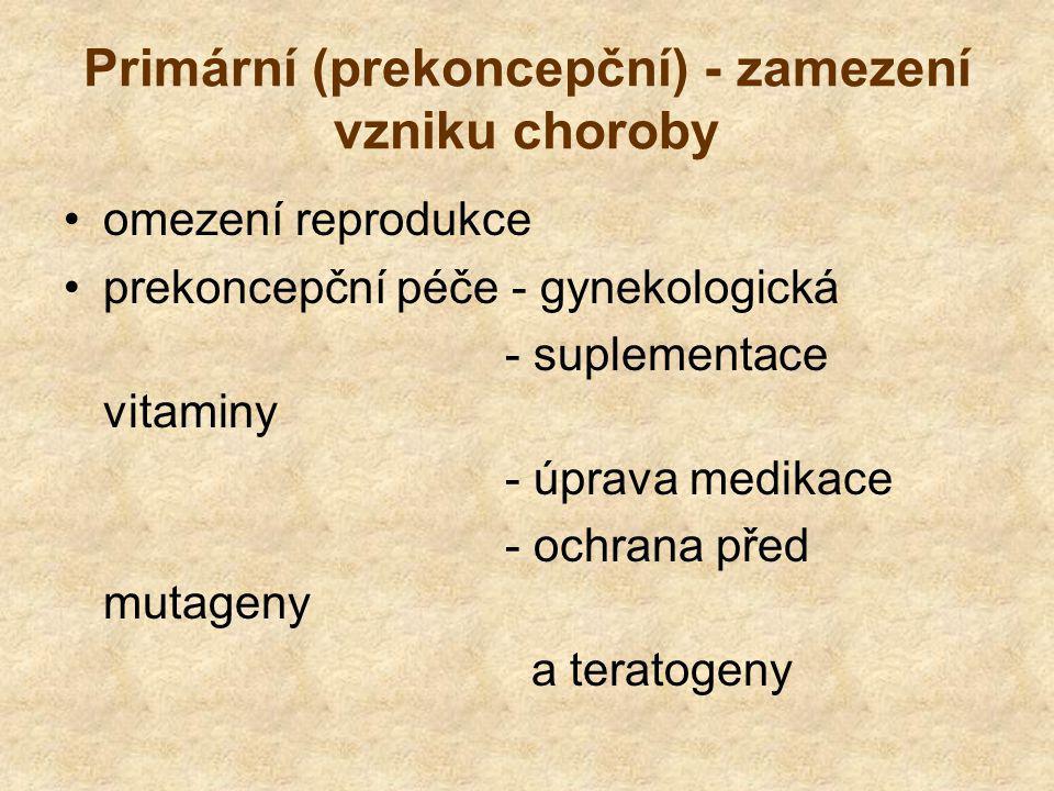 Primární (prekoncepční) - zamezení vzniku choroby omezení reprodukce prekoncepční péče - gynekologická - suplementace vitaminy - úprava medikace - ochrana před mutageny a teratogeny