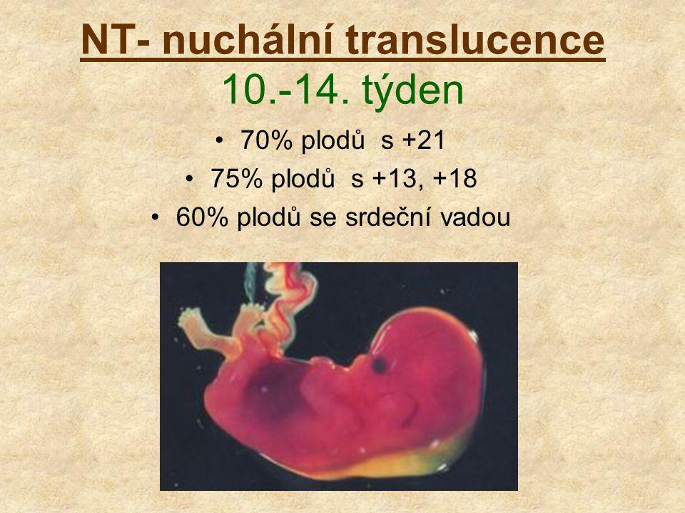 NT- nuchální translucence 10.-14. týden 70% plodů s +21 75% plodů s +13, +18 60% plodů se srdeční vadou