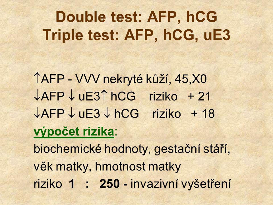 Double test: AFP, hCG Triple test: AFP, hCG, uE3  AFP - VVV nekryté kůží, 45,X0  AFP  uE3  hCG riziko + 21  AFP  uE3  hCG riziko + 18 výpočet rizika: biochemické hodnoty, gestační stáří, věk matky, hmotnost matky riziko 1 : 250 - invazivní vyšetření