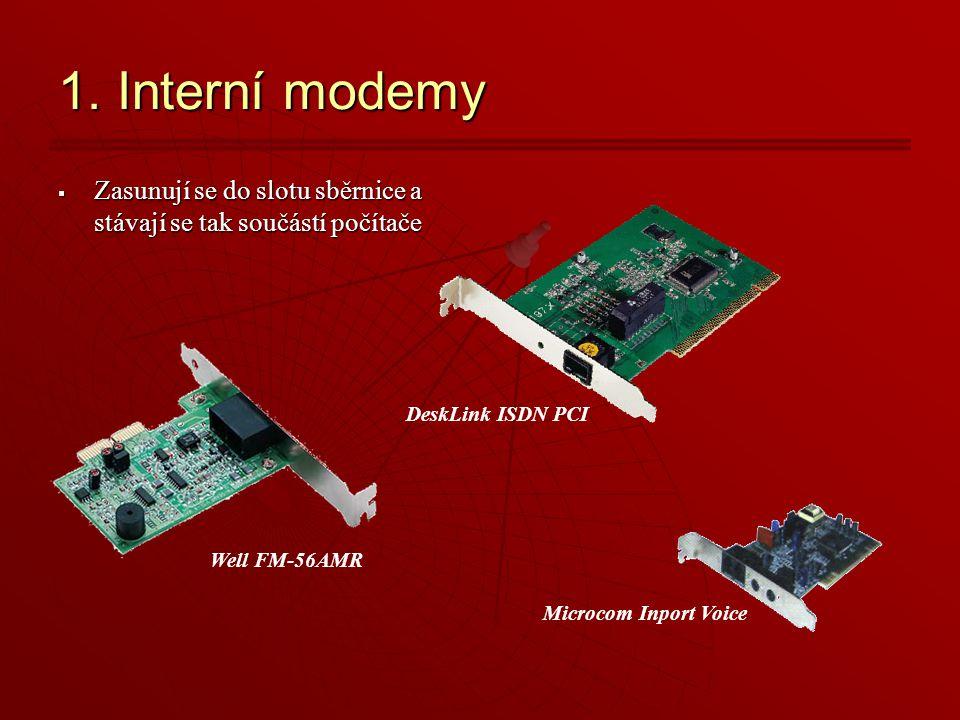 1. Interní modemy  Zasunují se do slotu sběrnice a stávají se tak součástí počítače Well FM-56AMR Microcom Inport Voice DeskLink ISDN PCI