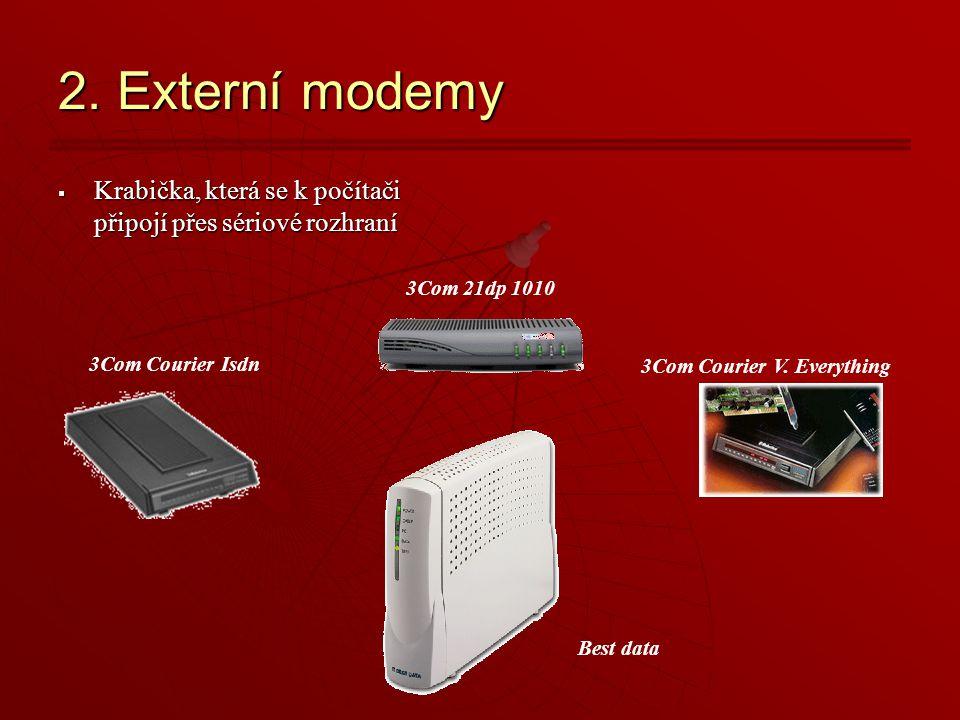 2. Externí modemy  Krabička, která se k počítači připojí přes sériové rozhraní 3Com Courier V.