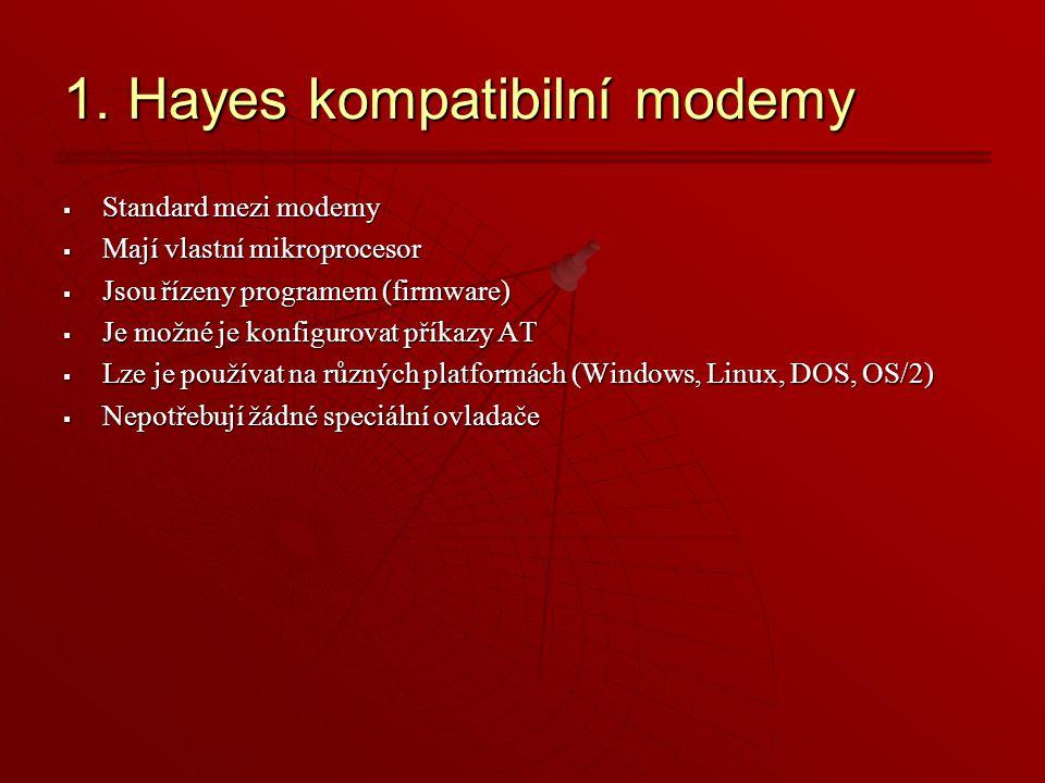 1. Hayes kompatibilní modemy  Standard mezi modemy  Mají vlastní mikroprocesor  Jsou řízeny programem (firmware)  Je možné je konfigurovat příkazy