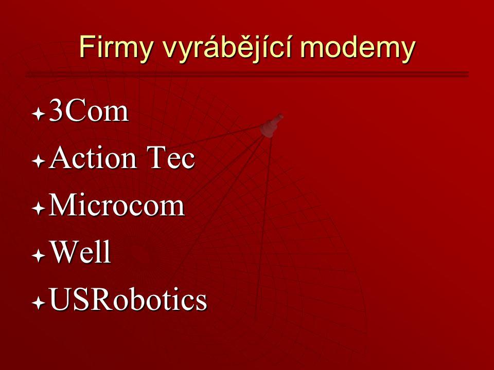 Firmy vyrábějící modemy  3Com  Action  Action Tec  Microcom  Well  USRobotics