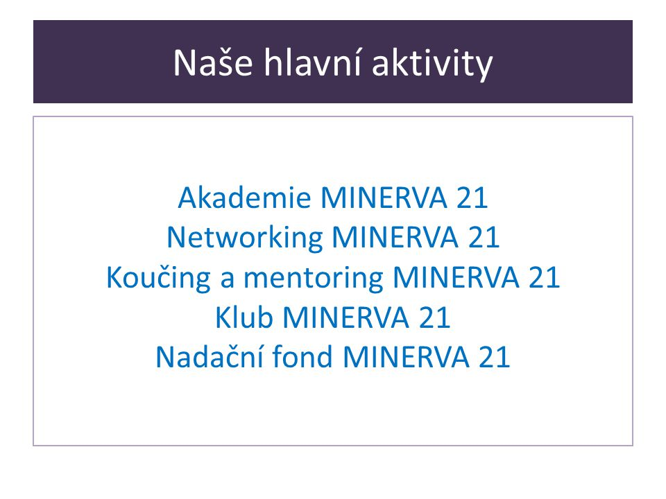Naše hlavní aktivity Akademie MINERVA 21 Networking MINERVA 21 Koučing a mentoring MINERVA 21 Klub MINERVA 21 Nadační fond MINERVA 21