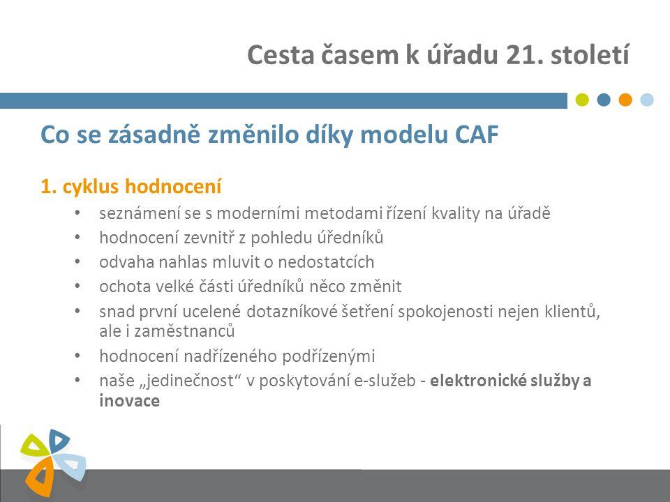 Cesta časem k úřadu 21. století Co se zásadně změnilo díky modelu CAF 1.