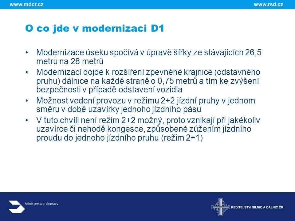 O co jde v modernizaci D1 Modernizace je rozdělena na 21 dílčích úseků Součástí stavebního úseku je vždy s ohledem na omezení provozu jedna mimoúrovňová křižovatka Z těchto podmínek vyplývají začátky a konce staveb jednotlivých úseků, které jsou dlouhé od tří do 14,7 kilometrů