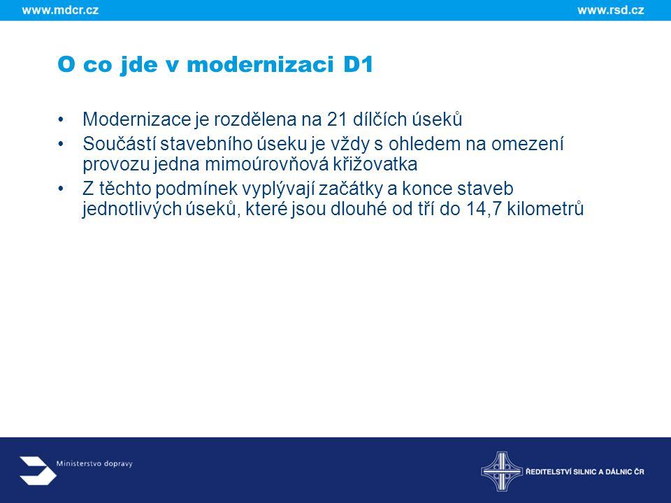 O co jde v modernizaci D1 Modernizace je rozdělena na 21 dílčích úseků Součástí stavebního úseku je vždy s ohledem na omezení provozu jedna mimoúrovňo
